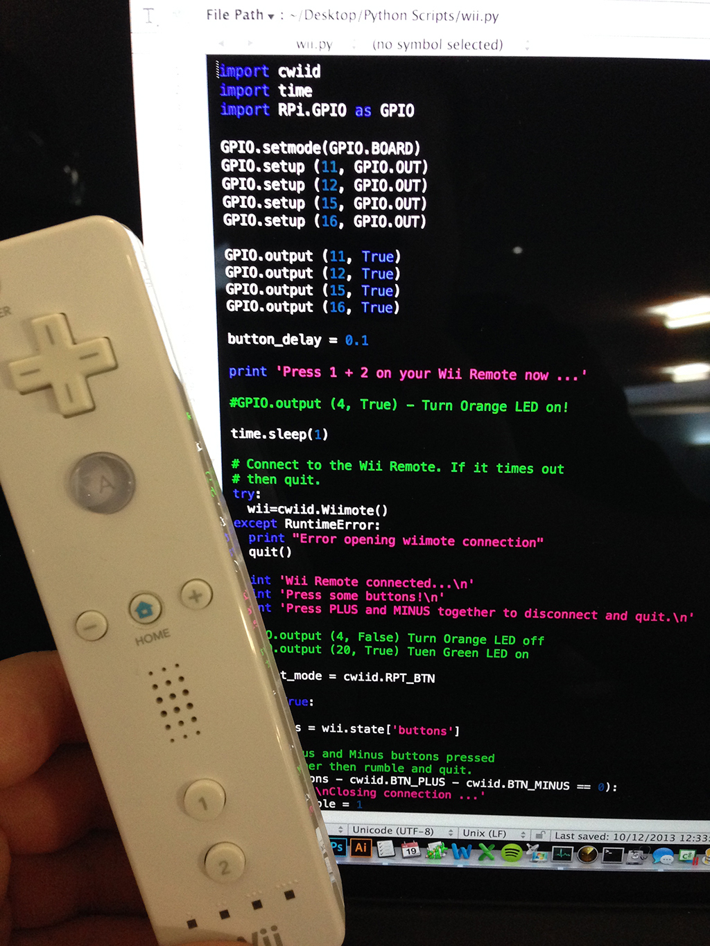 NB-1 a Wii remote controlled Raspberry Pi track robot