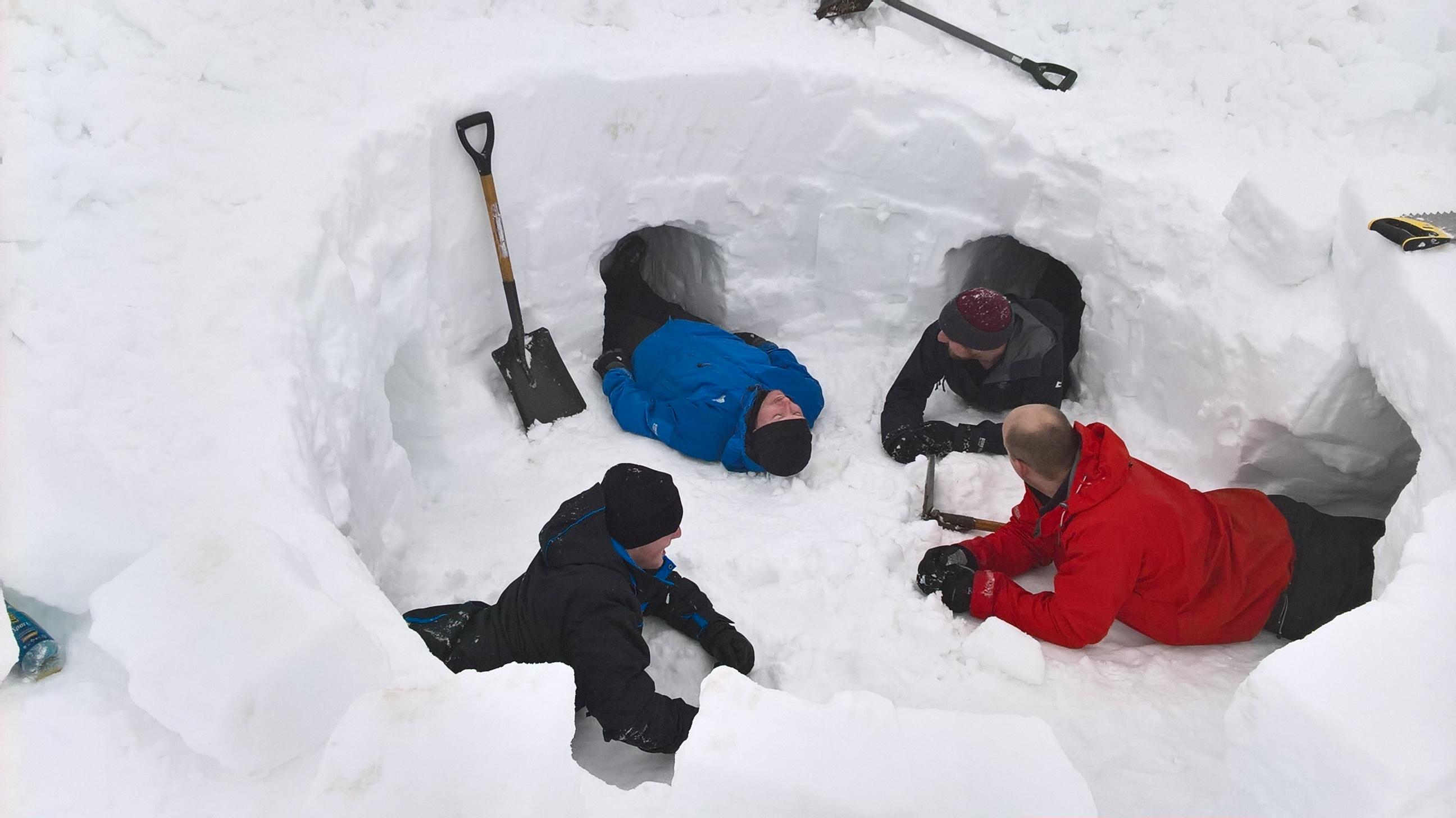 Iglooing Aviemore digging Labman Holes