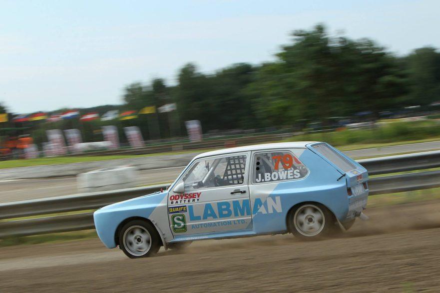 Retro Rallycross Car Cornering blue speed fast bowes
