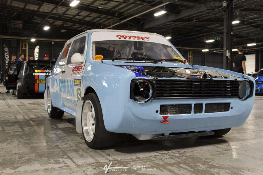 Retro Rallycross Car blue J.Bowes engine speed