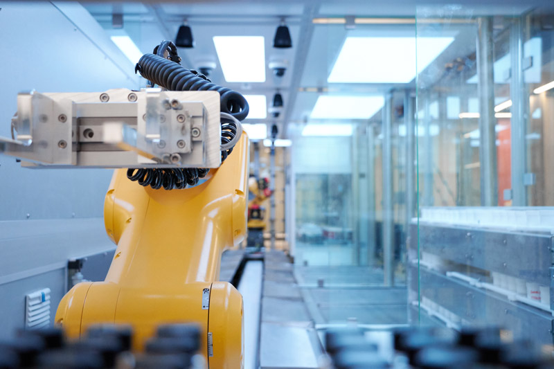 Liverpool University Materials Innovation Factory MIF Labman Automated formulation engine fanuc yellow robot arm schunk gripper