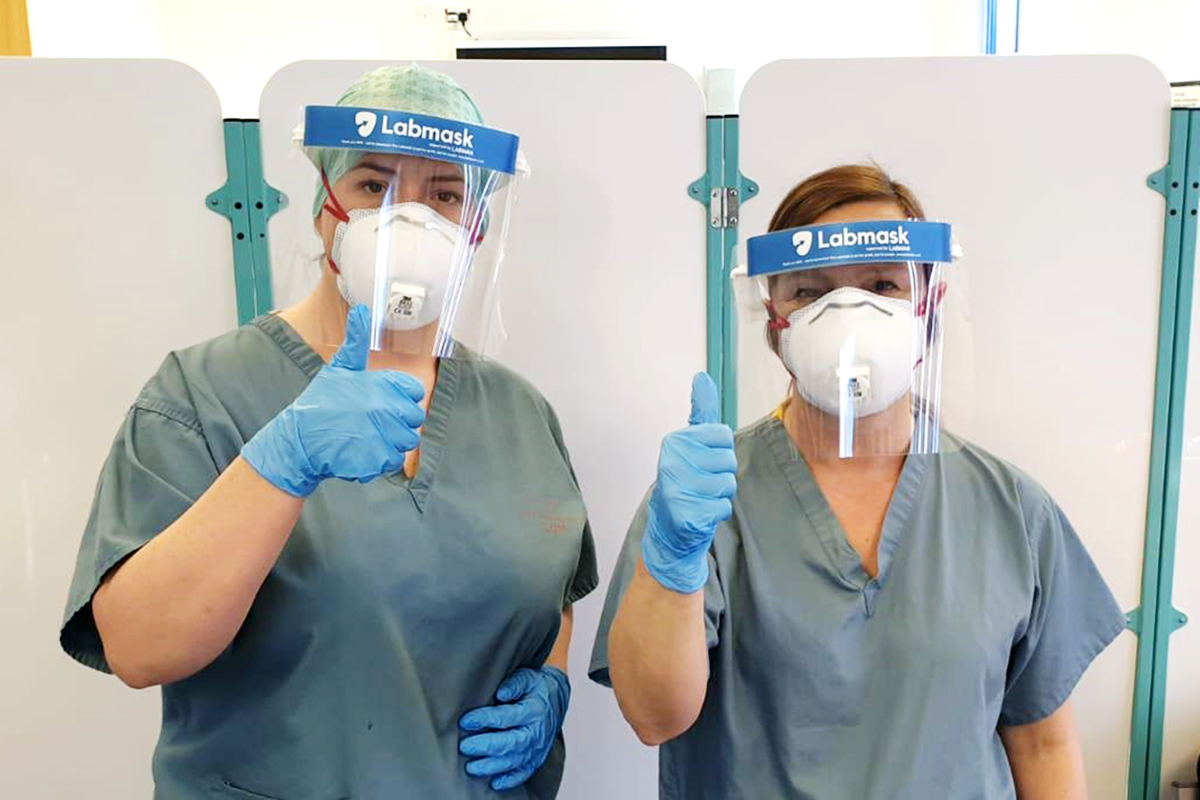 NHS Staff wearing Labmasks