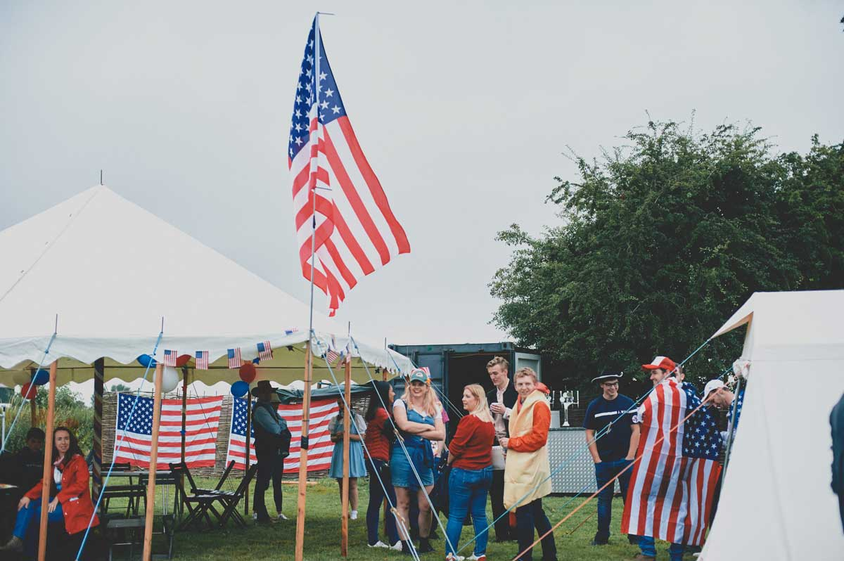 Labman usa party american flag and tents